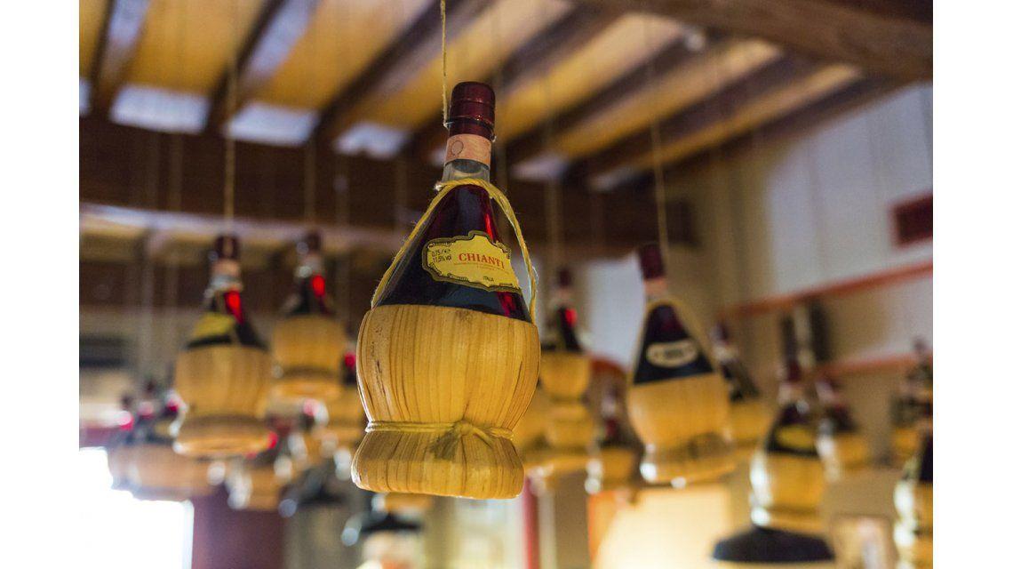 La tradicional botella del Chianti
