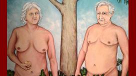 La pintura muestra a Mujica y Topolansky desnudos, acompañados inclusive de su perra Manuela