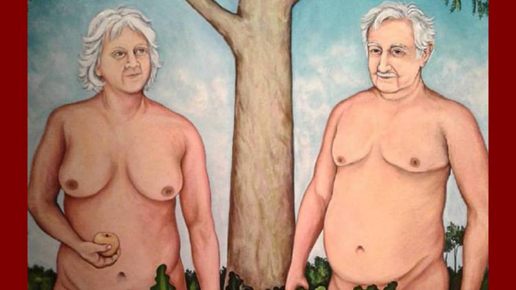La pintura muestra a Mujica y Topolansky desnudos