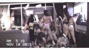 Imagen de la cámara de seguridad del hotel en el que Mayweather organizó una fiesta con strippers
