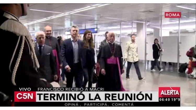 Mauricio Macri en el Vaticano antes de la reunión con el Papa Francisco