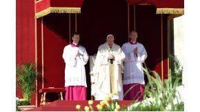 El papa Francisco, durante la canonización del cura Brochero, primer santo argentino.