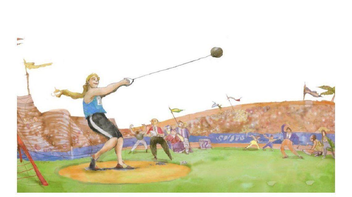 Dibujo de Jenny lanzando el martillo que ilustra el primer cuento. Se trata de una chica grandota a la cual todos burlaban en el colegio