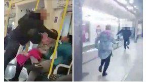 Un hombre golpea a otro sin motivo en el subte de Londres