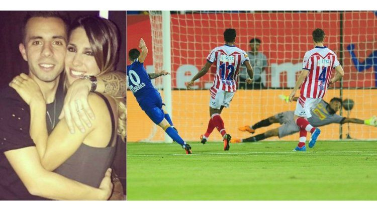 Matías Defederico hizo un gol y se lo dedicó a Cinthia Fernández.