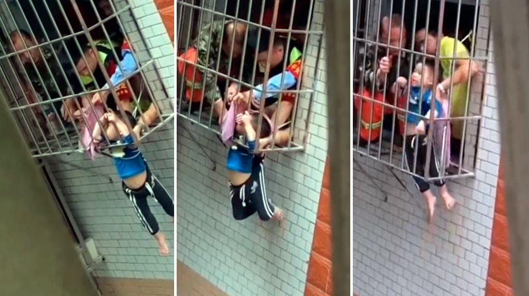 VIDEO: Mirá el dramático rescate de un nene que quedó colgado de una ventana