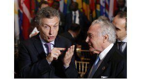 Macri con el presidente de Brasil, Michel Temer