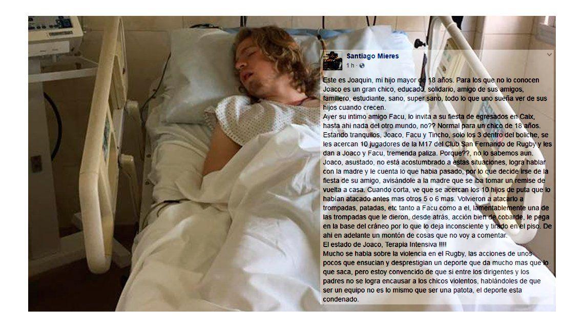 Joaquín tiene 18 años y permanece internado