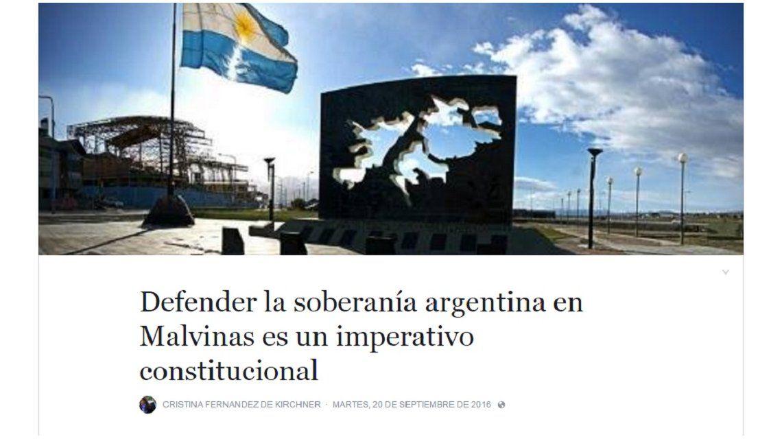 Cristina criticó al Gobierno por omitir la soberanía de Malvinas