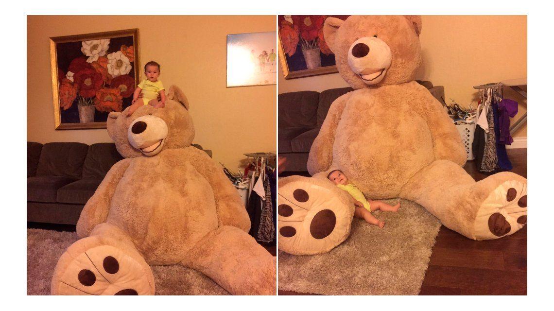 Exageró un poco: un abuelo le regaló un oso gigante a su nieta