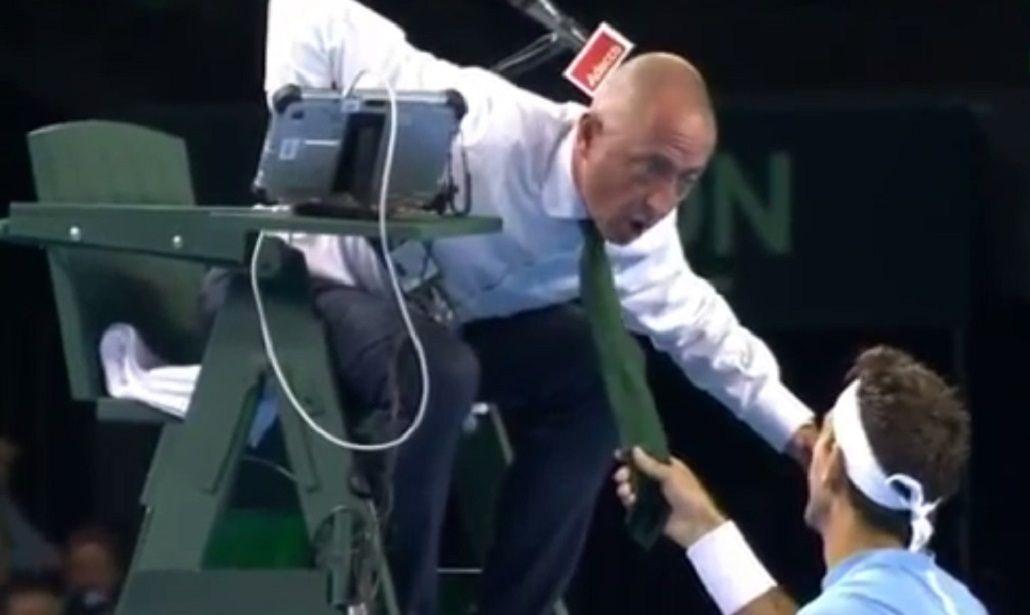 VIDEO: la broma de Delpo que desató la ira del árbitro