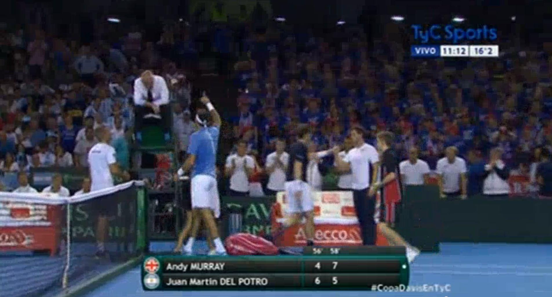 VIDEO: La polémica definición del segundo set que ganó Murray y enfureció a Del Potro