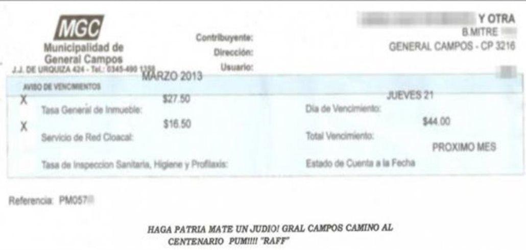 Escándalo en Entre Ríos por una leyenda antisemita en una boleta