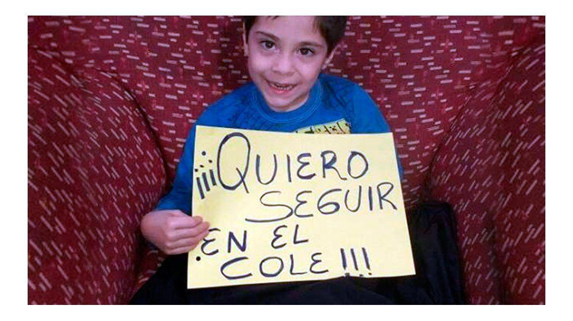 El desesperado pedido de un nene con discapacidad: Quiero seguir en el cole