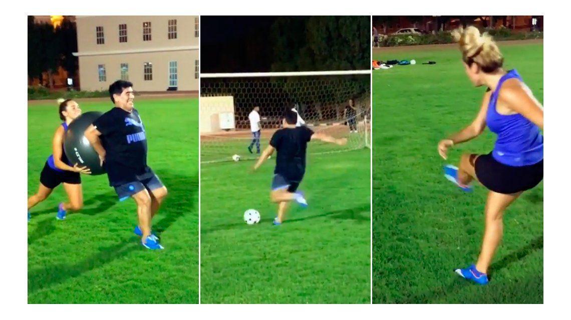 Los ejercicios de Rocío y Maradona: Entrenando con garra y amor