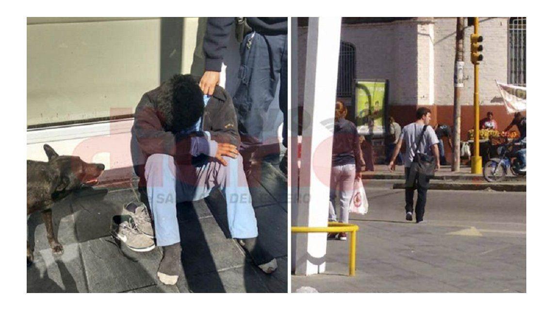 Conmovedor: le dejó sus zapatillas a un indigente y se fue descalzo