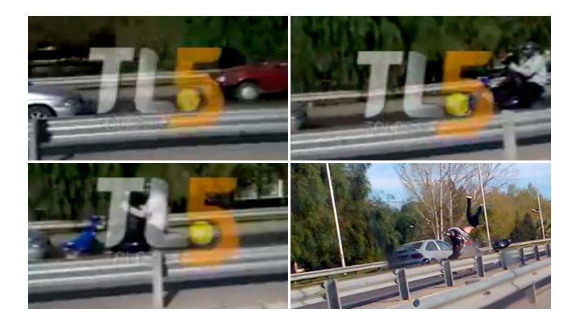 VIDEO: Manejaba en contramano por una autopista y atropelló a una pareja en una moto