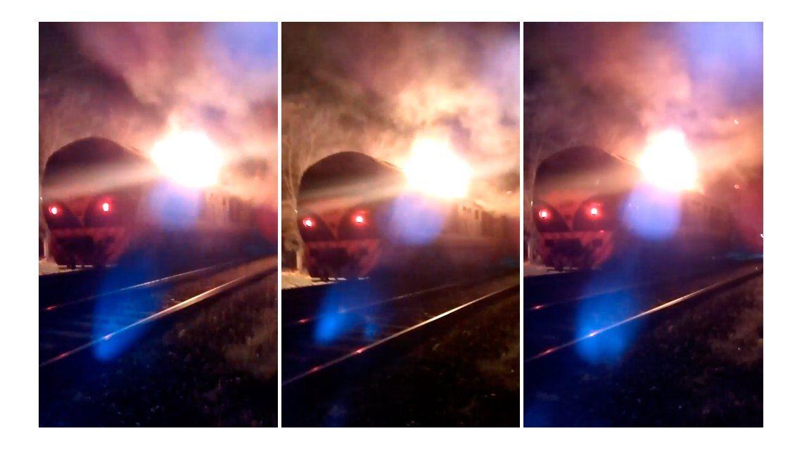 Principio de incendio en una locomotora del tren San Martín