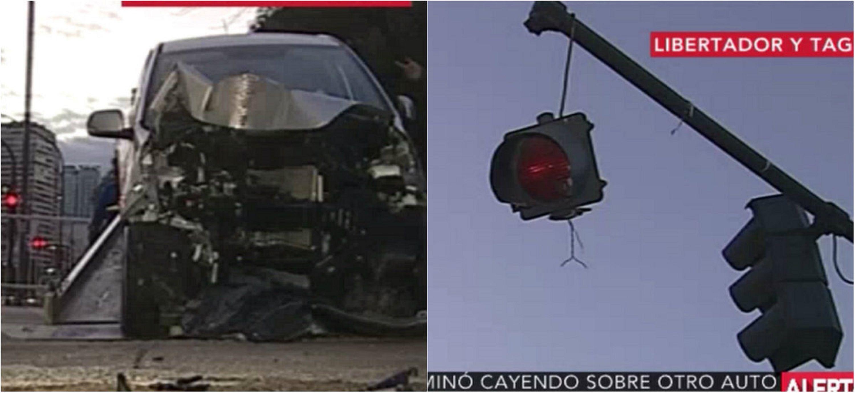 Murió tras chocar con semáforo que después cayó sobre otro auto