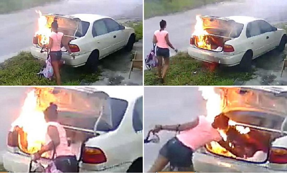 VIDEO: Quiso vengarse de su ex incendiándole el auto y se equivocó de coche