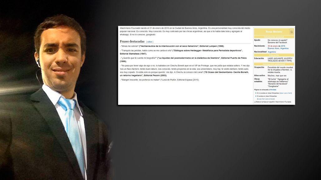 El periodista Maximiliano Fourcade y todas sus frases ya están en Wikipedia