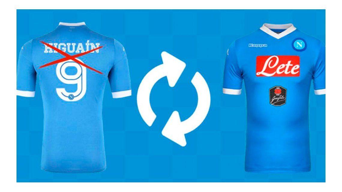 Plan canje: llevando la camiseta de Higuaín, te regalan otro producto de Nápoli