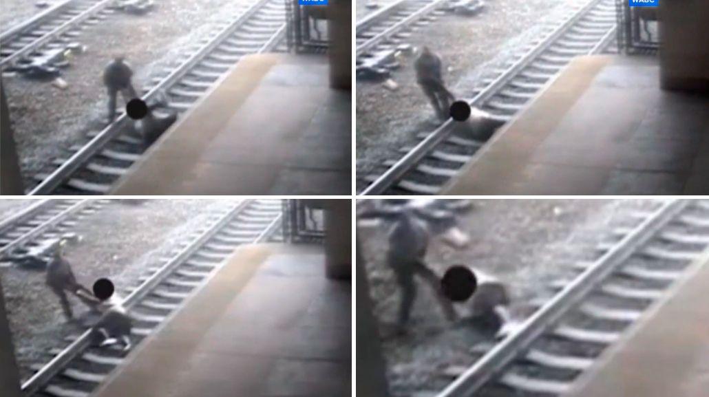 Dramático: vio que un hombre se iba a suicidar en las vías del tren, se tiró y lo salvó