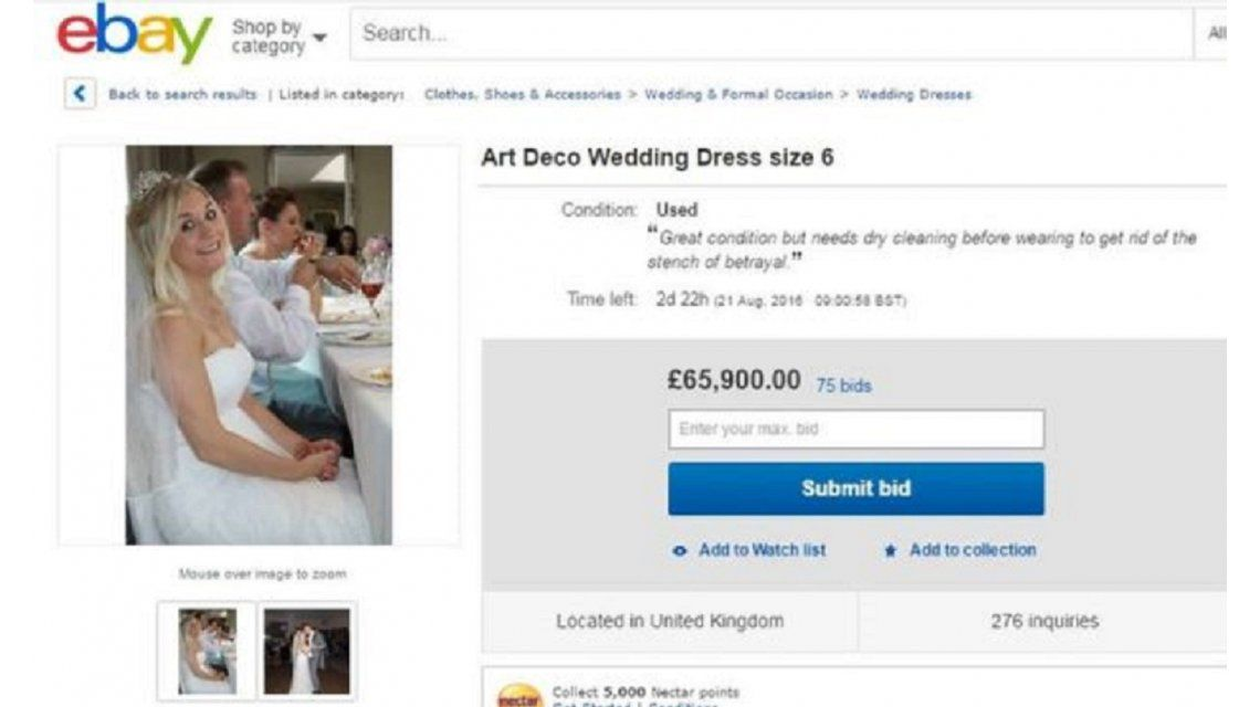 Su esposo la engañó y ella decidió vender su vestido de novia para pagar el divorcio