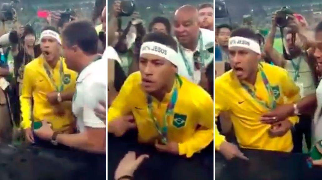En pleno festejo, Neymar invitó a pelear a un hincha que lo había insultado