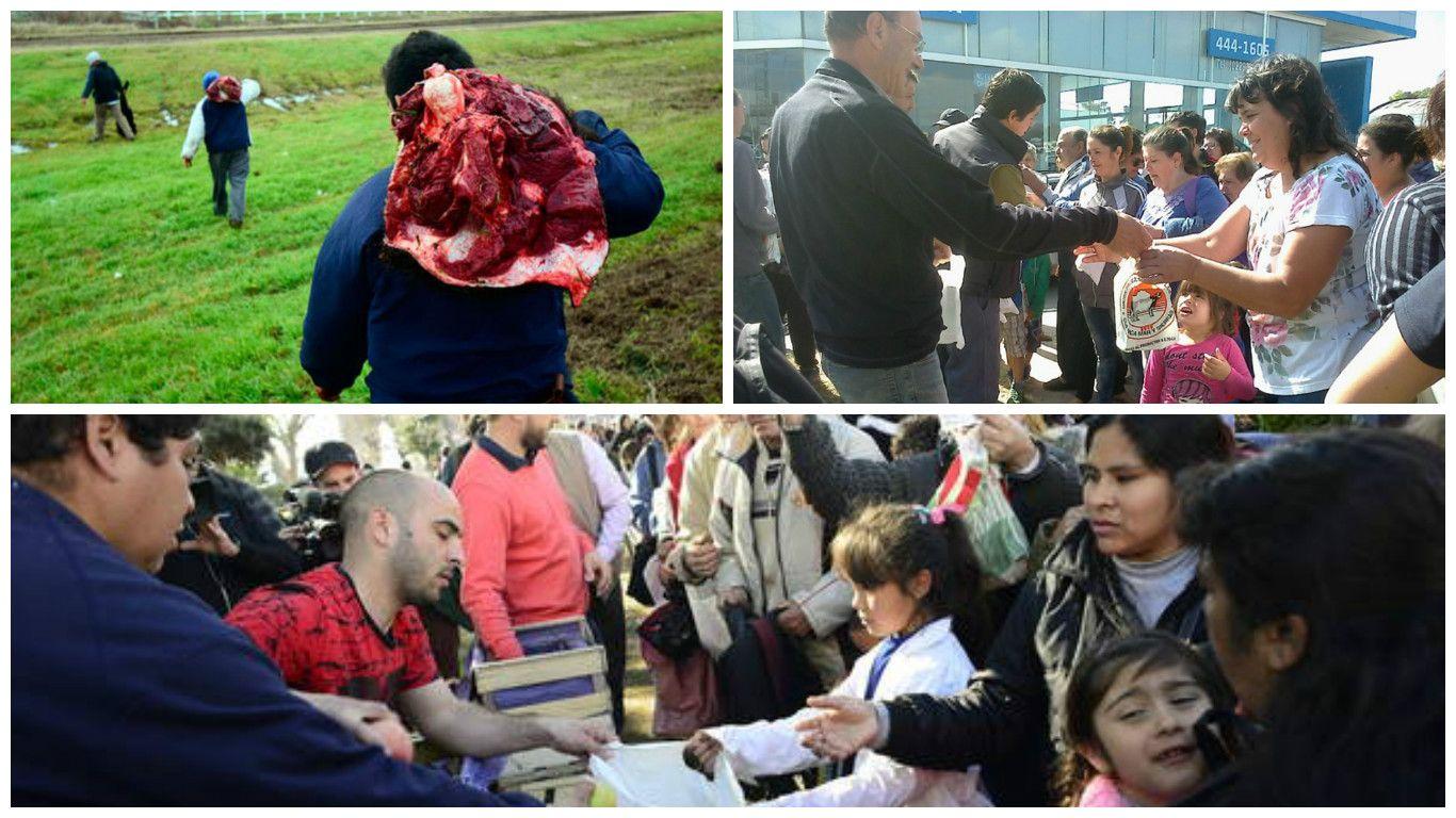Carne, leche y frutas: unos las regalan y otros no tienen para comprarla