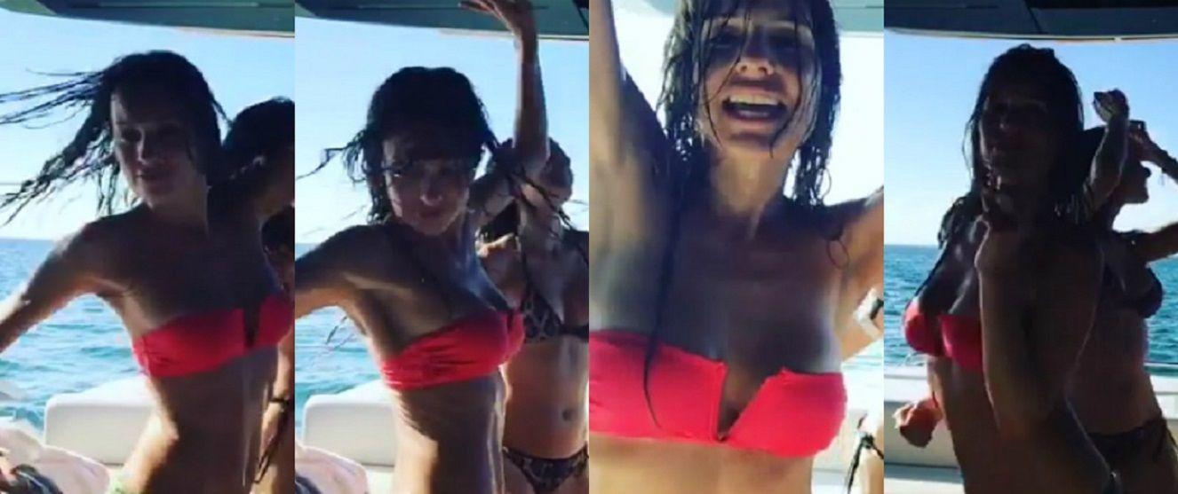 El sensual baile de Pampita en bikini a bordo de un barco en Miami