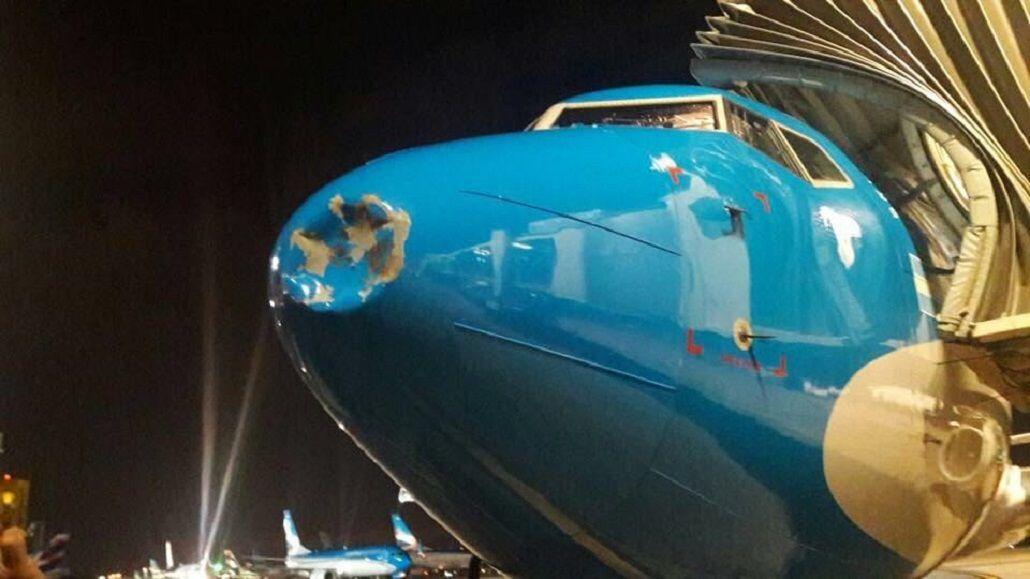 Susto en el aire: un pájaro golpeó a un avión en pleno vuelo y lo abolló