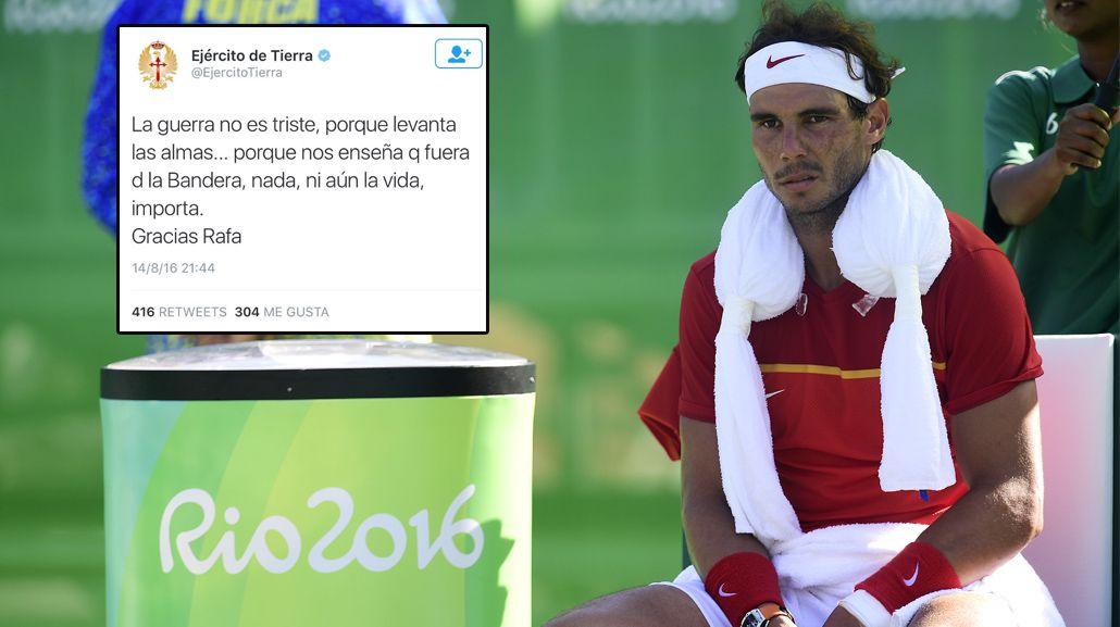 El polémico tuit que el Ejército español le dedicó a Nadal y tuvo que borrar
