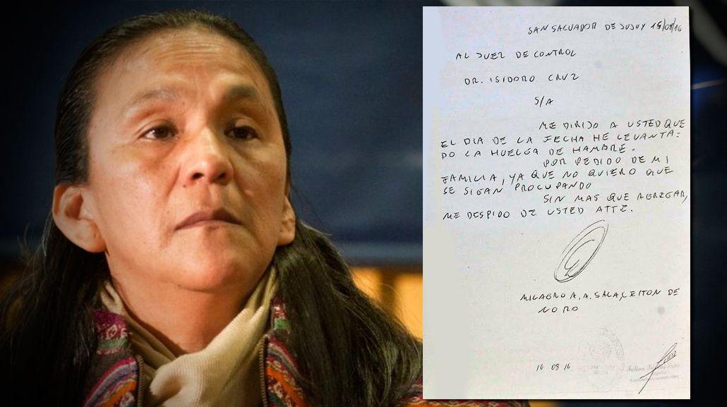 Milagro Sala levantó la huelga de hambre