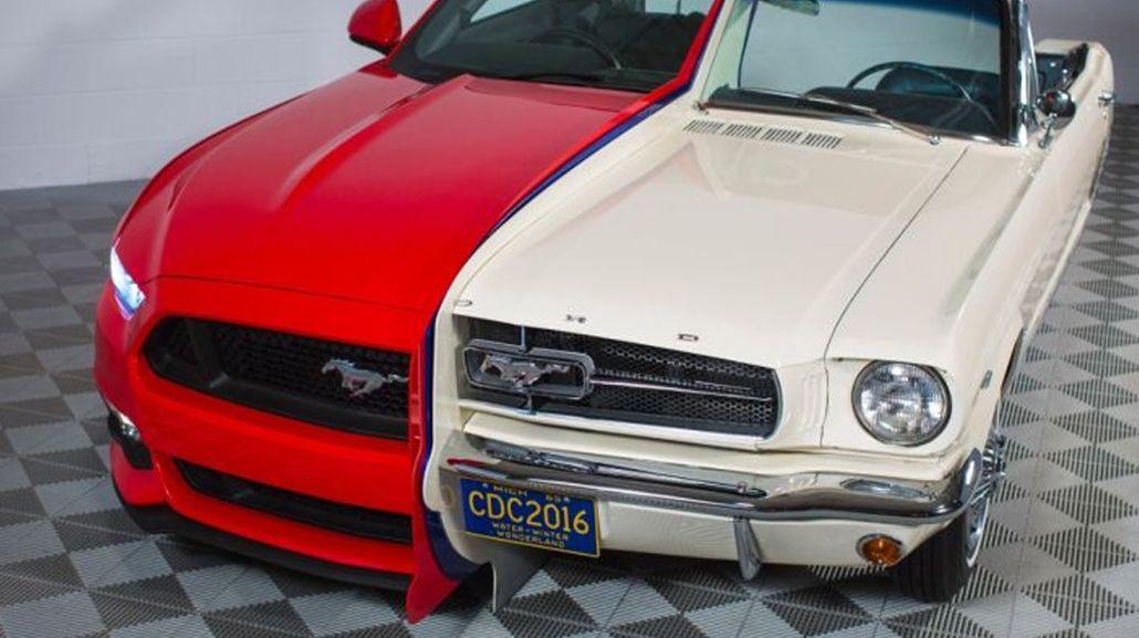 Máquina del tiempo: fusionan al primer Mustang de 1965 con el último de 2015