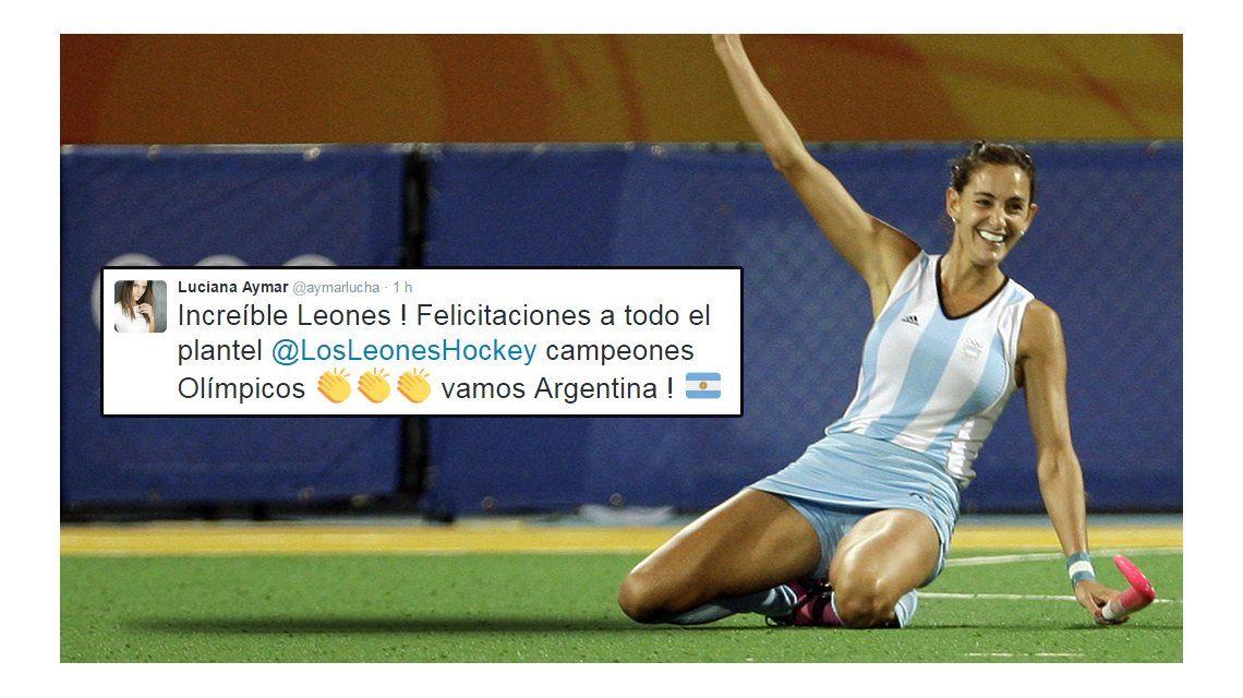 Lucha Aymar celebró la medalla dorada conseguida por Los Leones