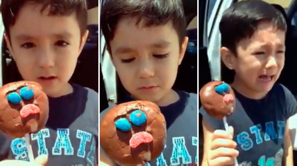 VIDEO: El llanto de un nene porque su helado tiene una carita triste