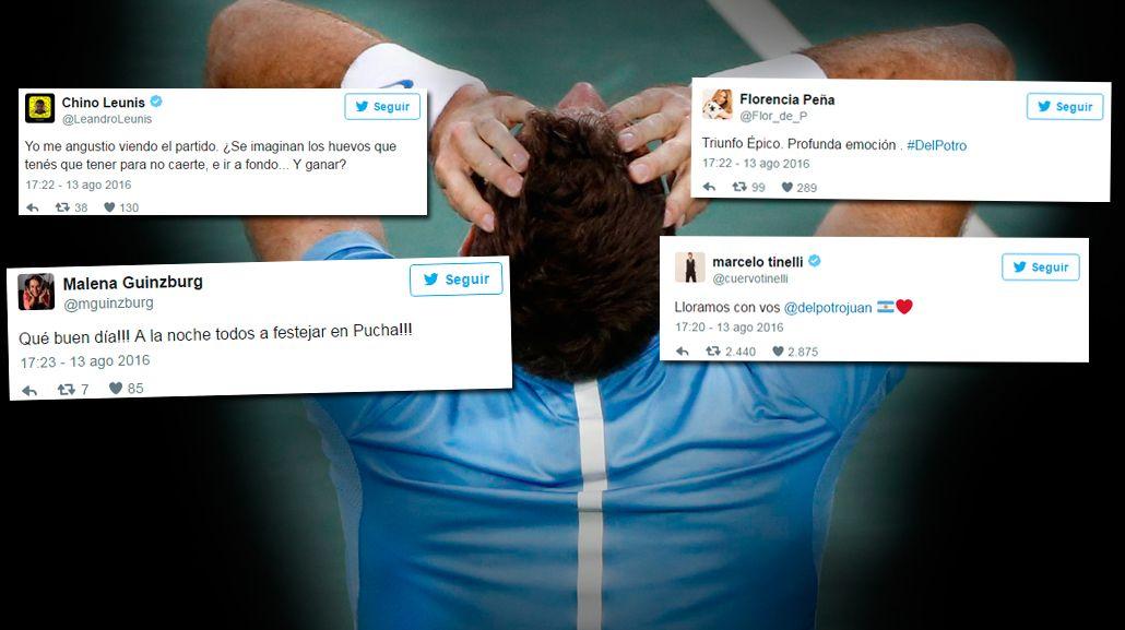 Ganó Del Potro ante Rafael Nadal y los famosos estallaron de felicidad en Twitter