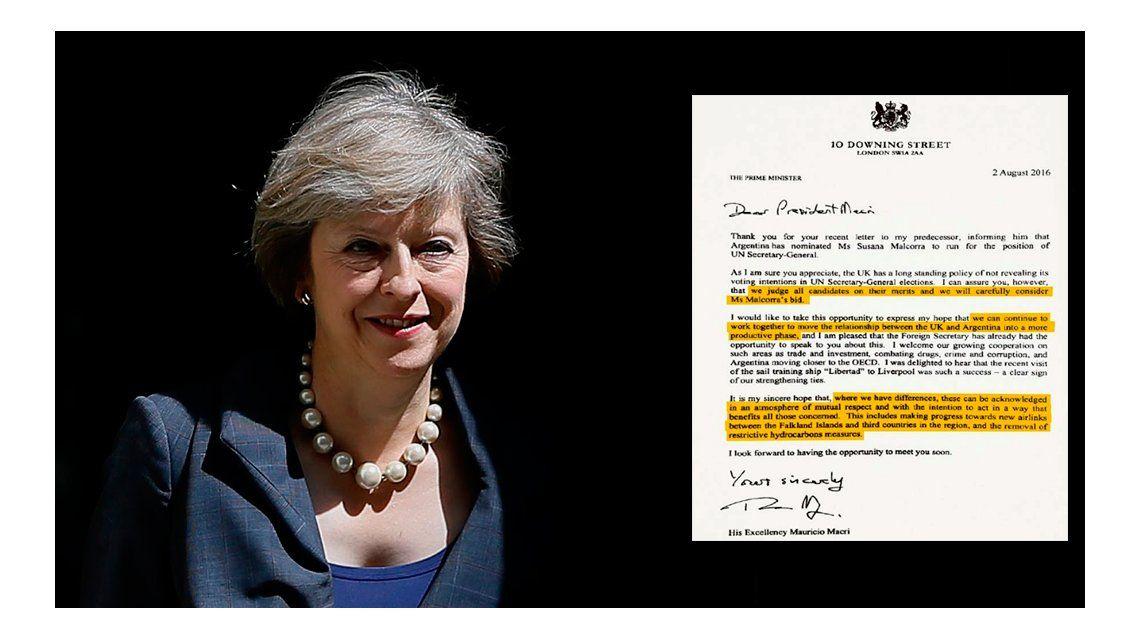 La carta de la primera ministra británica a Macri por las Islas Malvinas
