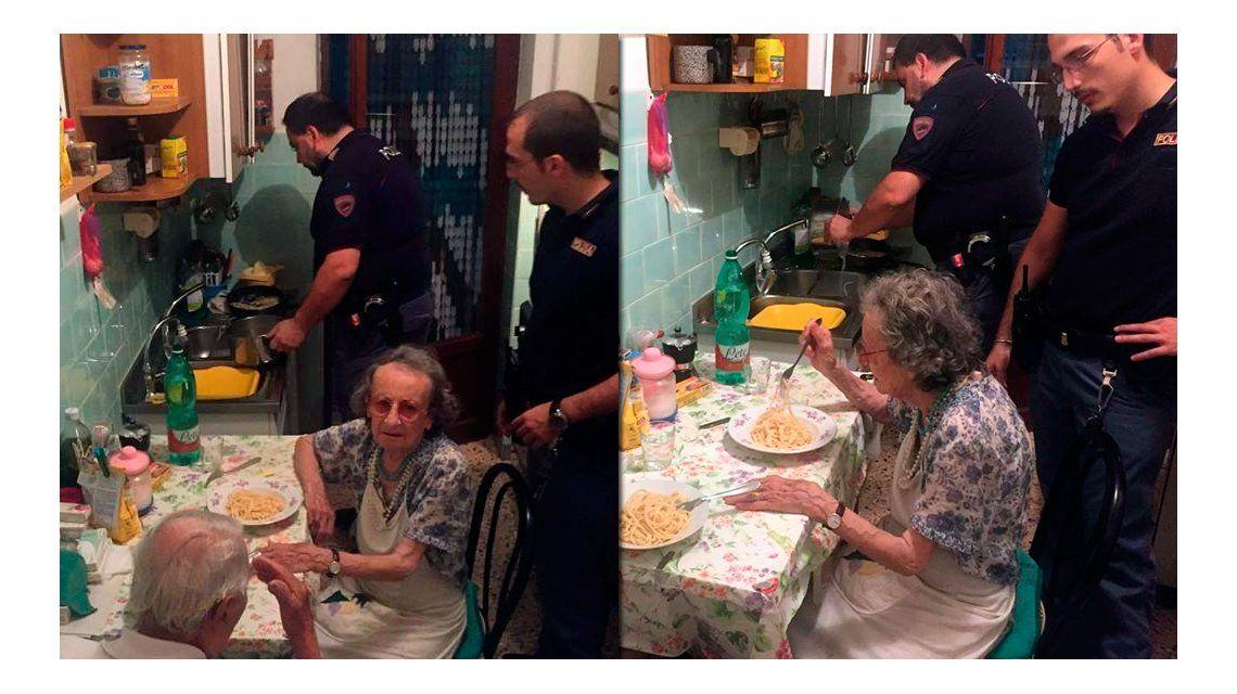Policías solidarios: fueron por disturbios y terminaron consolando a una pareja de ancianos