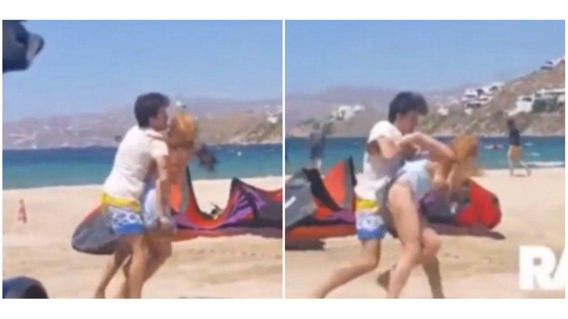 VIDEO: Lindsay Lohan es agredida por su novio en una playa