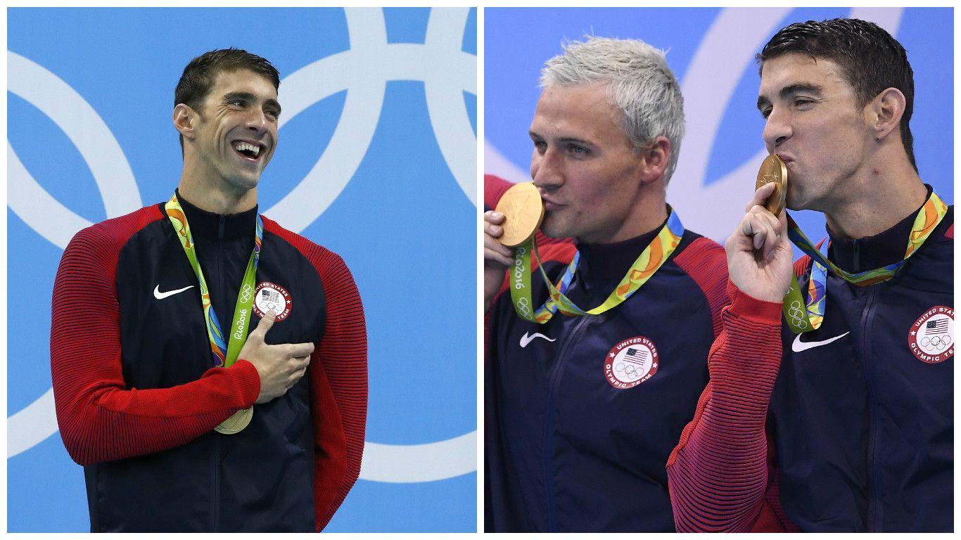 Phelps ganó una dorada en mariposa, se secó, corrió una posta y ganó otra
