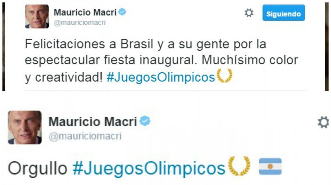 Macri se mostró con Juliana Awada en el Maracaná y retuiteó a deportistas