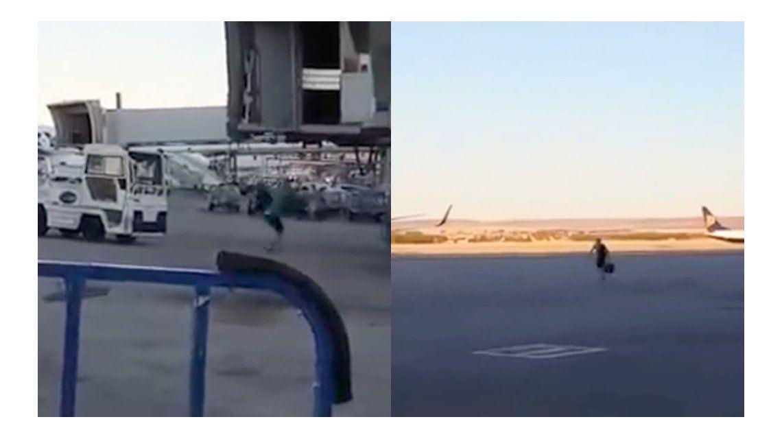 Desesperado: el pasajero que llegó tarde y corrió el avión para no perder el vuelo