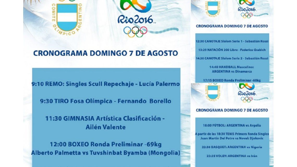 Domingo Olímpico: qué argentinos competirán hoy
