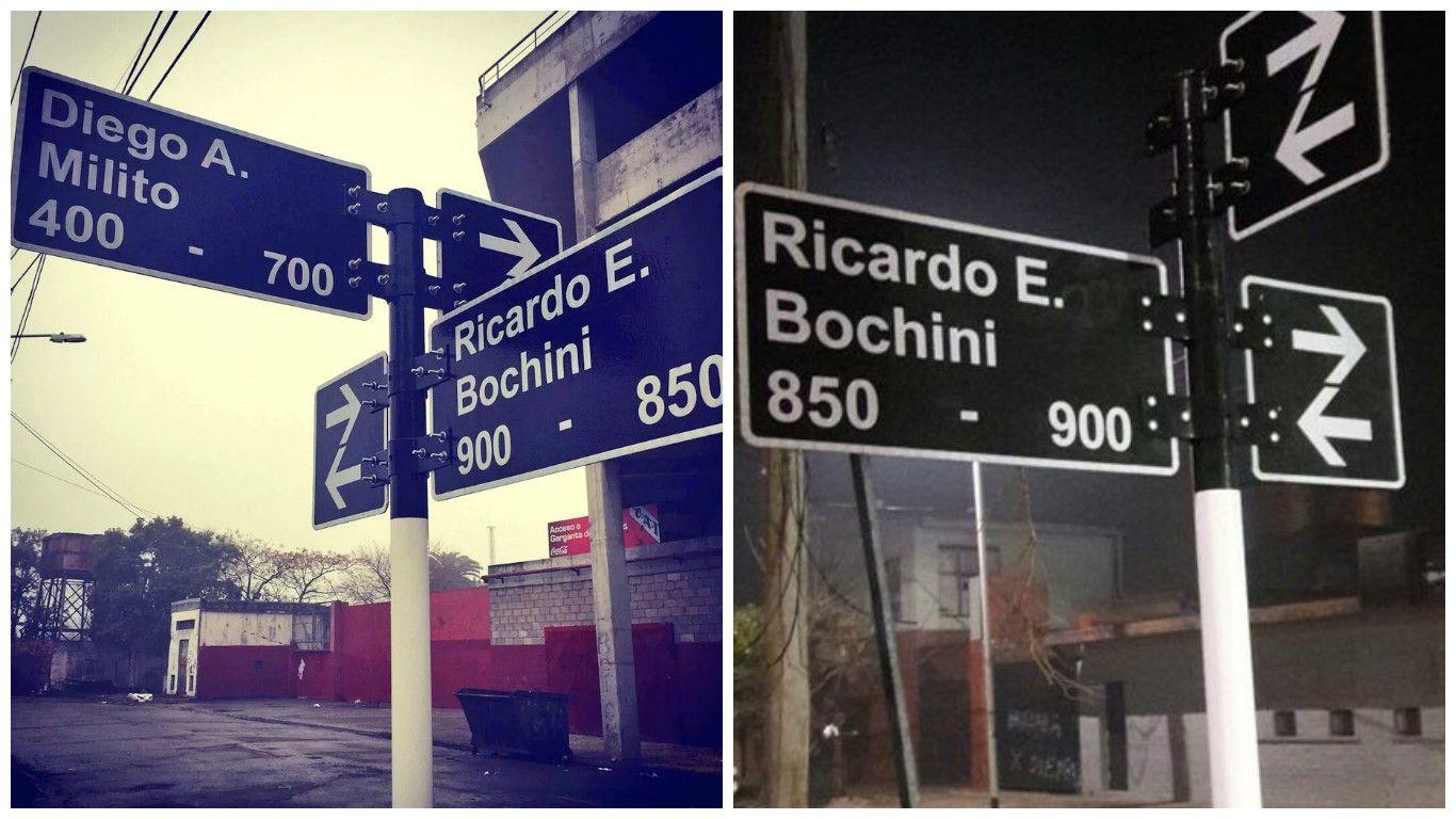 A pocas horas del homenaje al ídolo de Racing, robaron el cartel de la calle Diego Milito