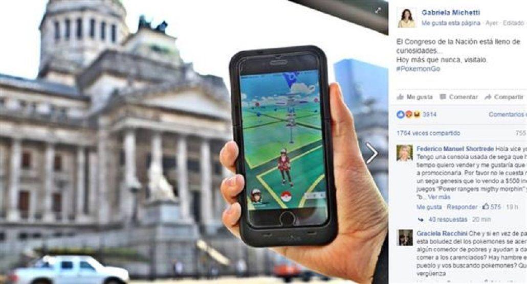 En el día del #Ruidazo, Michetti convocó a jugar en el Congreso al Pokémon Go