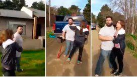 VIDEO: Discutió con sus vecinos y los atacó con un bate de béisbol
