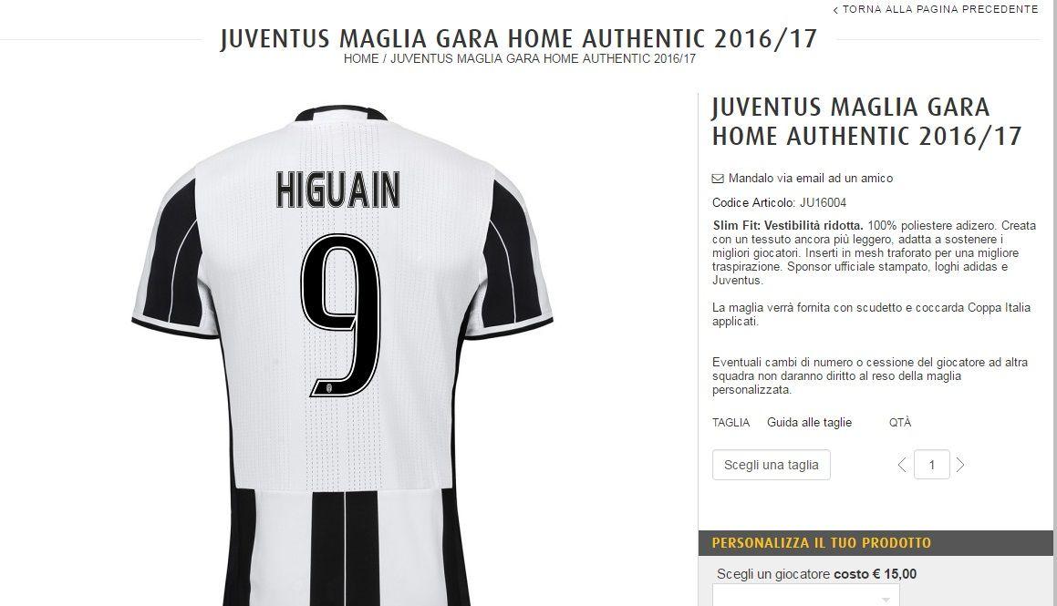 ¿Cuánto vale la flamante camiseta de Higuaín en la Juventus?
