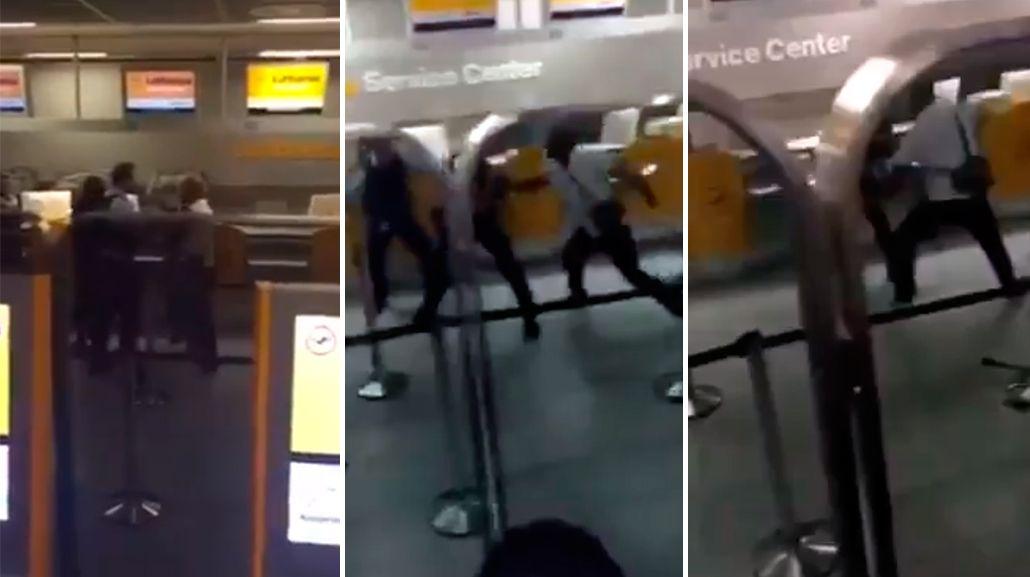 VIDEO: Se enojó porque le cancelaron un vuelo y noqueó a dos policías